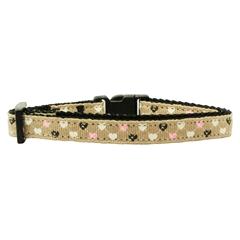 Mirage Pet Products Argyle Hearts Nylon Ribbon Collar Tan Cat Safety