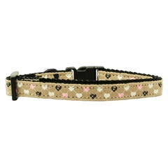 Mirage Pet Products Argyle Hearts Nylon Ribbon Collar Tan Small