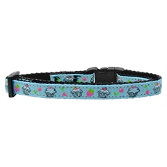 Mirage Pet Products Cupcakes Nylon Ribbon Collar Baby Blue Cat Safety