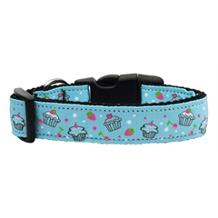 Mirage Pet Products Cupcakes Nylon Ribbon Collar Baby Blue Medium
