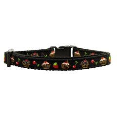 Mirage Pet Products Cupcakes Nylon Ribbon Collar Black Cat Safety