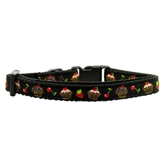 Mirage Pet Products Cupcakes Nylon Ribbon Collar Black X-Small