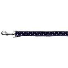Mirage Pet Products Anchors Nylon Ribbon Leash Blue 1 inch wide 4ft Long