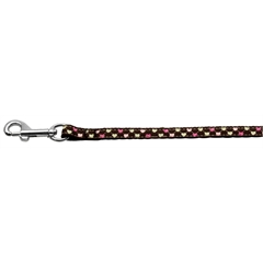 Mirage Pet Products Argyle Hearts Nylon Ribbon Leash Brown 3/8 wide 6ft Long