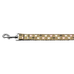 Mirage Pet Products Argyle Hearts Nylon Ribbon Leash Tan 1 inch wide 6ft Long