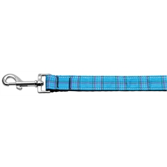 Mirage Pet Products Plaid Nylon Collar  Blue 1 wide 6ft Lsh