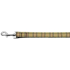 Mirage Pet Products Plaid Nylon Collar  Khaki 1 wide 6ft Lsh