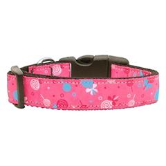 Mirage Pet Products Lollipops Nylon Ribbon Collar Bright Pink Medium