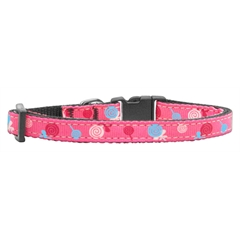 Mirage Pet Products Lollipops Nylon Ribbon Collar Bright Pink X-Small