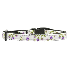 Mirage Pet Products Roses Nylon Ribbon Collar Purple Cat Safety