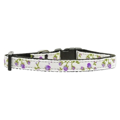 Mirage Pet Products Roses Nylon Ribbon Collar Purple Small