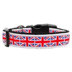 Mirage Pet Products Tiled Union Jack(UK Flag) Nylon Ribbon Dog Collar Medium