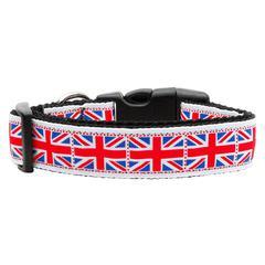 Mirage Pet Products Tiled Union Jack(UK Flag) Nylon Ribbon Dog Collar Large