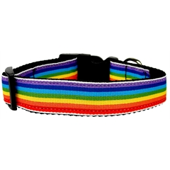 Mirage Pet Products Rainbow Striped Nylon Collars Rainbow Stripes Large