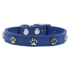 Mirage Pet Products Paw Leather  Blue 22