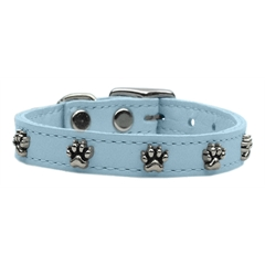 Mirage Pet Products Paw Leather  Baby Blue 16