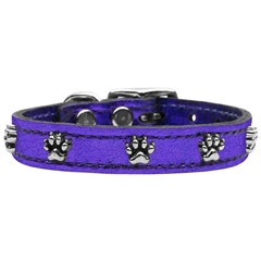 Mirage Pet Products Metallic Paw Leather  Purple MTL 24