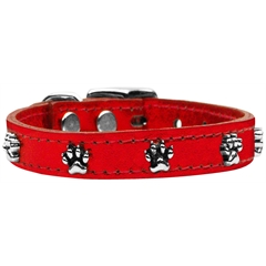 Mirage Pet Products Metallic Paw Leather  RedMTL 26
