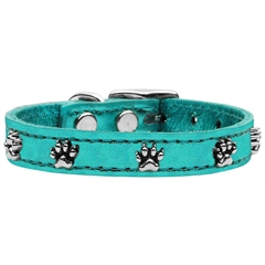 Mirage Pet Products Metallic Paw Leather  Turquoise MTL 16