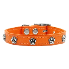 Mirage Pet Products Paw Leather  Orange 18