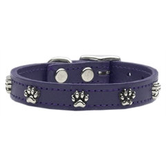 Mirage Pet Products Paw Leather  Purple 12