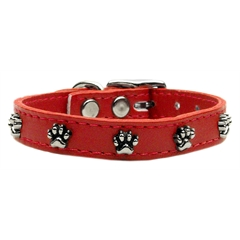 Mirage Pet Products Paw Leather  Red 26