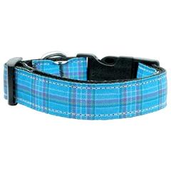 Mirage Pet Products Plaid Nylon Collar  Blue Large