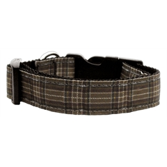 Mirage Pet Products Plaid Nylon Collar  Brown Large