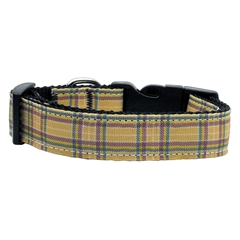 Mirage Pet Products Plaid Nylon Collar  Khaki Medium