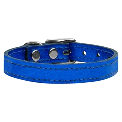 Mirage Pet Products Plain Metallic Leather Metallic Blue 26