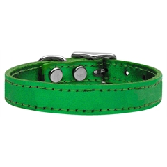 Mirage Pet Products Plain Metallic Leather Metallic Emerald Green 18
