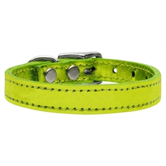 Mirage Pet Products Plain Metallic Leather Lime Green 22