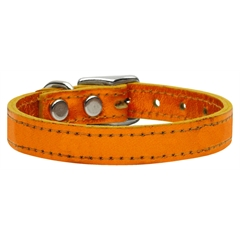 Mirage Pet Products Plain Metallic Leather Metallic Orange 16