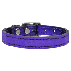 Mirage Pet Products Plain Metallic Leather Metallic Purple 12