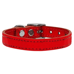 Mirage Pet Products Plain Metallic Leather Metallic Red 22