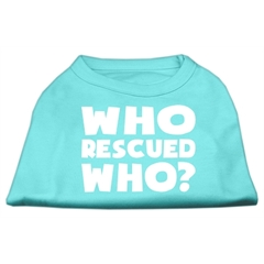 Mirage Pet Products Who Rescued Who Screen Print Shirt Aqua XL (16)