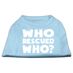 Mirage Pet Products Who Rescued Who Screen Print Shirt Baby Blue XS (8)