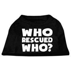 Mirage Pet Products Who Rescued Who Screen Print Shirt Black  XL (16)