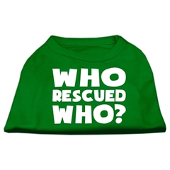 Mirage Pet Products Who Rescued Who Screen Print Shirt Green XL (16)