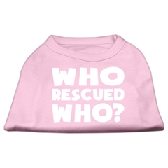 Mirage Pet Products Who Rescued Who Screen Print Shirt Light Pink Sm (10)