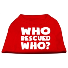Mirage Pet Products Who Rescued Who Screen Print Shirt Red Med (12)