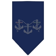 Mirage Pet Products Anchors Rhinestone Bandana Navy Blue large