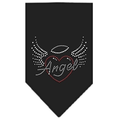 Mirage Pet Products Angel Heart Rhinestone Bandana Black Small
