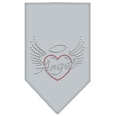 Mirage Pet Products Angel Heart Rhinestone Bandana Grey Small