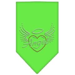 Mirage Pet Products Angel Heart Rhinestone Bandana Lime Green Small