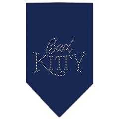 Mirage Pet Products Bad Kitty Rhinestone Bandana Navy Blue large