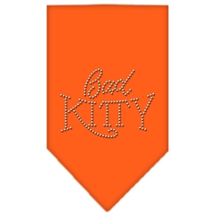 Mirage Pet Products Bad Kitty Rhinestone Bandana Orange Small