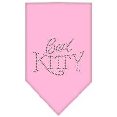 Mirage Pet Products Bad Kitty Rhinestone Bandana Light Pink Large