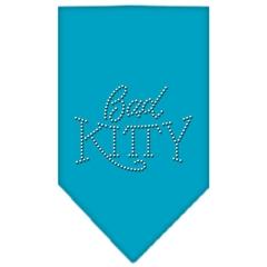 Mirage Pet Products Bad Kitty Rhinestone Bandana Turquoise Large