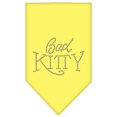 Mirage Pet Products Bad Kitty Rhinestone Bandana Yellow Large